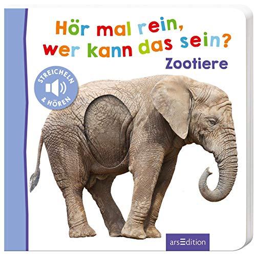 Hör mal rein, wer kann das sein? - Zootiere: Streicheln und hören | Hochwertiges Pappbilderbuch mit 5 Sounds und Fühlelementen für Kinder ab 18 Monaten (Foto-Streichel-Soundbuch)