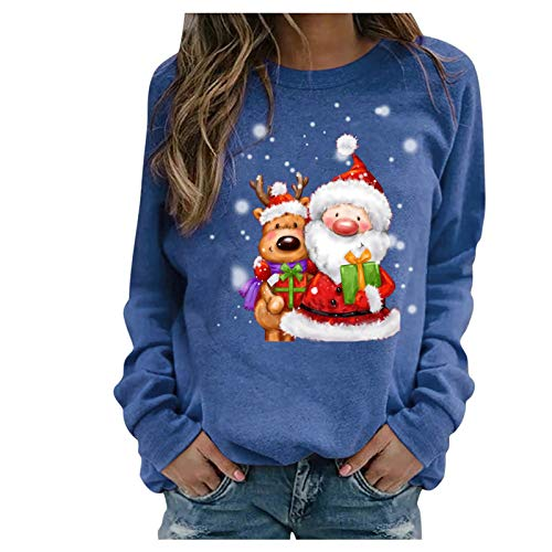 Womens Sweatshirts,Women's Christmas Pullover Sweaters Casual Long Sleeve Shirts Tops Funny Print Loose Blouse