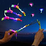 50 Pcs LED Helicopter Shooters,Rocket Slingshot Flying Copters Toy with Led Lights,Amazing Led Light Arrow Helicopter Glow Christmas Day Outdoor Game for Kids Adult 12 Pcs