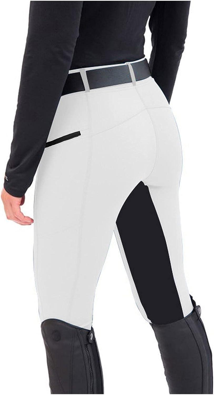Zxvrara Women's Riding Equestrian Breeches Pants Outdoor Exercise High Waist Legging Trousers Sports Yoga Fitness