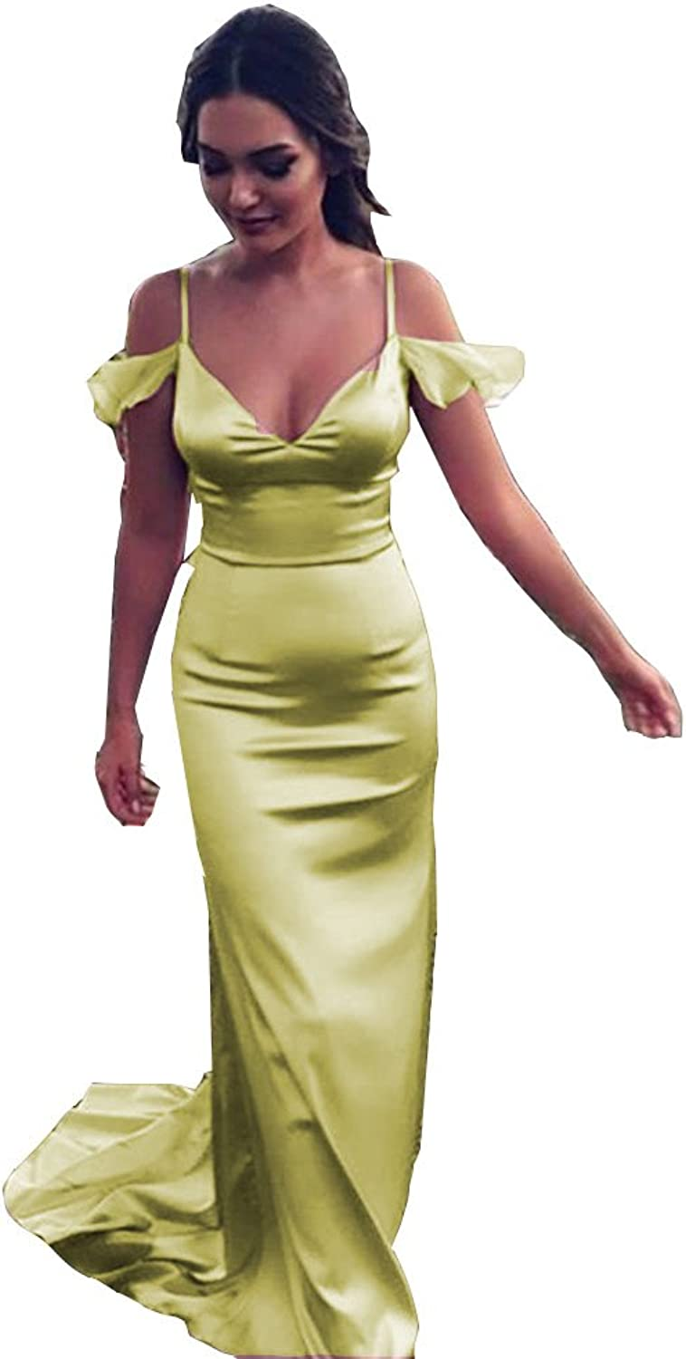 Ai Maria Women's Gorgeous Mermaid Long Evening Dresses and Crystals Women Bare Shoulders Sleeves Formal Gowns