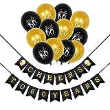 Konsait 60 Anni Compleanno Decorazione, Cheers to 60 Years Compleanno bandierine Striscione , Celebrazione 60 Anni Compleanno Palloncini in Lattice Oro e Nero per 60 ° Compleanno Decorazioni