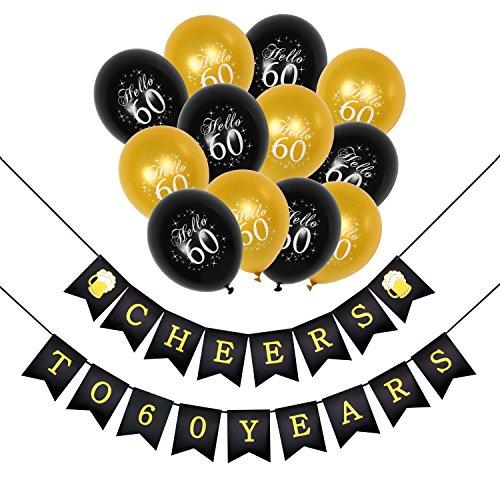 Konsait 60e Kit de décorations de fête d'anniversaire, 60 Ans Anniversaire Bannières, 60 Noir Or Party Ballons en Latex pour Adultes Femme Homme Décoration de fête d'anniversaire 60 Ans