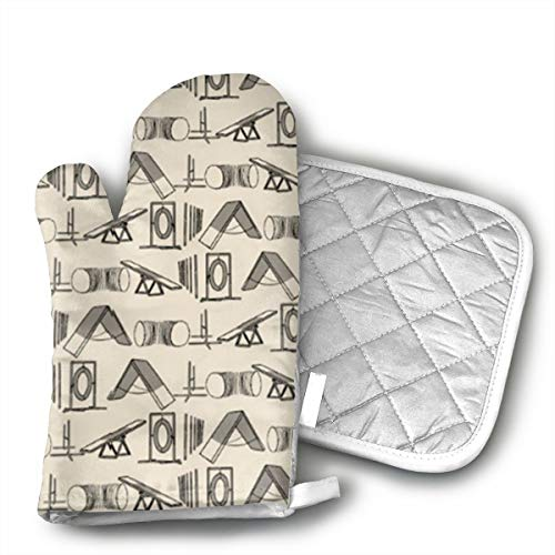 KEIOO Simple Dog Agility Equipment Oven Mitts and Potholders Heat Resistant Set of 2 Kitchen Set Non-Slip Grip Oven Gloves BBQ Cooking Baking Grilling