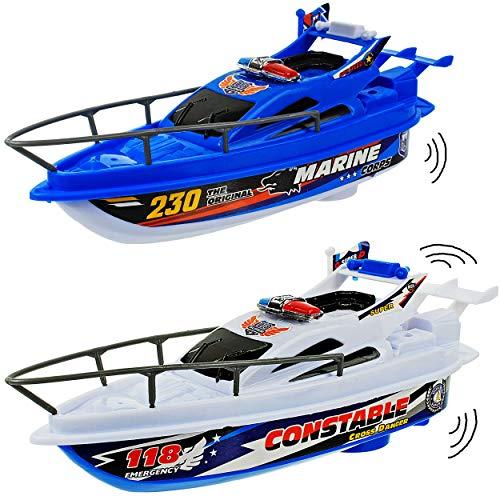 alles-meine.de GmbH Motor - Marine / Polizeiboot / Boot - mit Batterie - schwimmt + fährt im Wasser - 25 cm - Wasserboot / Batterie betrieben - selbstfahrend elektrisch Antrieb -..