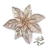GL-Turelfies - 12 flores de Navidad con purpurina (16 cm) con 12 clips de flor de pascua artificial para árbol de Navidad (champán)
