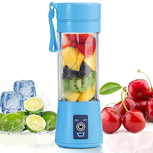Mini Portable Blender,Personal Blender Small Fruit Mixer Electric USB Rechargeable Juicer Cup Fruit Mixing Machine Home Travel 380ml,Six Blades 3D