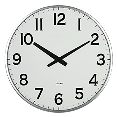 LuLu Decor, 18  Slim Wall Clock, round modern sleek design only 0.75 inches thick, Silent Movement (Slim Silver)