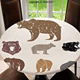 SCOCICI Elastic Edged Round Tablecloth Set of Different Bears with Grunge Design Growling Portraits Silhouettes Retro Polyester Washable Table Cover Kitchen Restaurant Party Decoration, Round 63