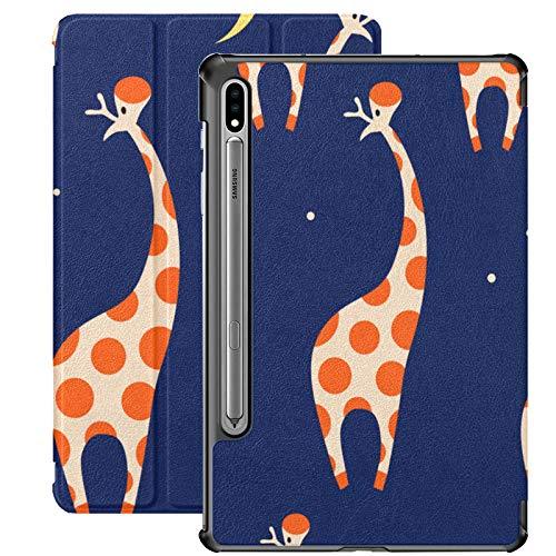 Funda para Galaxy Tab S7 Plus con Soporte para bolígrafo S Patrón Decorativo Divertidas Jirafas Funda de Piel sintética Linda para Samsung Galaxy Tab S7 Plus 12,4 Pulgadas 2020, Funda para Galaxy Tab