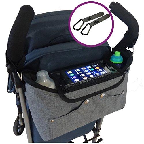 Grey Buggy Organiser Storage Bag for Buggies, Plus 2 x Pram Clips –...
