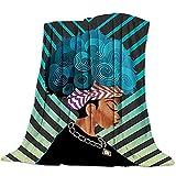 Mujer Africana Patrón Manta de Franela Plaid Suave Acogedora Mullida Cálida Mantas de Lujo la 100% Microfibra para Modernas Colcha Sofa Manta-180x240cm