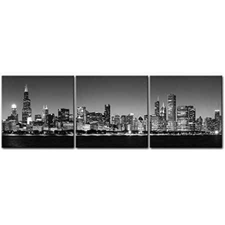 Panel art Chicago on canvas Chicago print City wall art Chicago architecture City building Chicago d\u00e9cor Black white photo Chicago gift