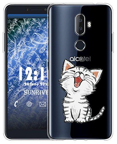 Sunrive Für Alcatel 3V Hülle Silikon, Transparent Handyhülle Schutzhülle Etui Hülle für Alcatel 3V(TPU Katze 2)+Gratis Universal Eingabestift