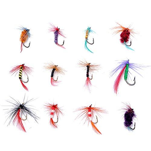 Bazaar 12 Stück / Set Verschiedene Fly Fishing Hooks Flies Bass Karpfen Köder