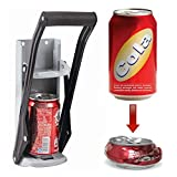 ASAB | Beer Can Crusher with Bottle Opener | Wall Mounted | for 12oz 350ml Small Tin | Soft Handle | High Leverage Recycling Tool | For Kitchens, Bars and Pubs | Grey