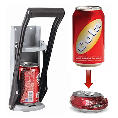 ASAB   Beer Can Crusher with Bottle Opener   Wall Mounted   for 12oz 350ml Small Tin   Soft Handle   High Leverage Recycling Tool   For Kitchens, Bars and Pubs   White