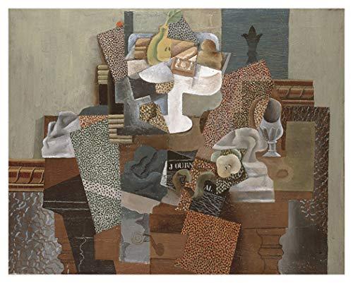JH Lacrocon Nature Morte avec Compotée Et Verre 1914 de Pablo Picasso - 120X95 cm Peintures Abstrait à Main Tableau Reproduction sur Toile Roulée Décoration Murale pour Salon