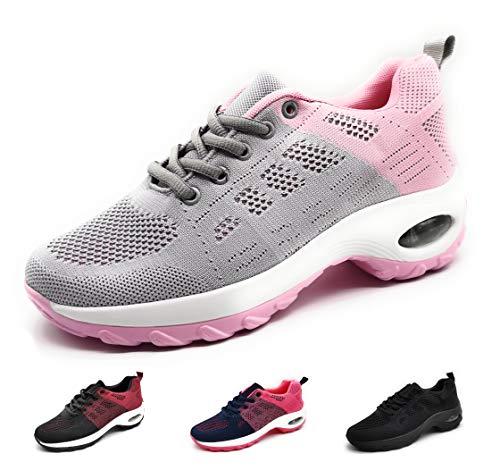 Zapatillas Deportivas para Mujer con Cuña de Camara de Aire Muy Transpirables y Ligeras con Bmabas con Plataforma Moda Deportiva Gris Rosa 40