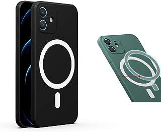 Magsafe充電対応 iPhone12 ケース マグネット内蔵 上質 軽量 高級感 おしゃれ アイフォン 12 ケース 背面カバー ストラップホール付き 薄い 磁石 Magsafe ケース 耐衝撃 レンズ保護 (iPhone12, 黒)