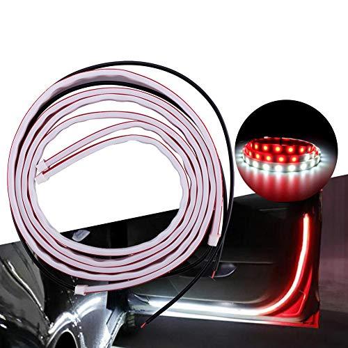 Bostar 2PCS 1.2M Tira de LED para abierta de puerta de coche Lámpara de advertencia luz intermitente que fluye anticolisión