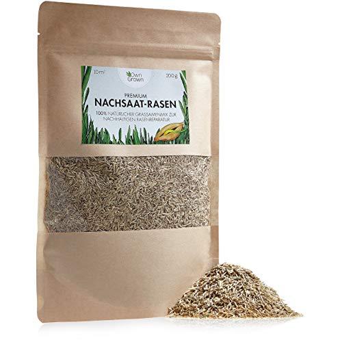 Premium Rasensamen 200g für einfache Rasen Nachsaat ohne Umgraben: OwnGrown Grassamen für schnelle Rasen Reparatur, Wiesensamen für 10 qm, Einheitliche Grünfläche mit Spiel und Sportrasen Samen