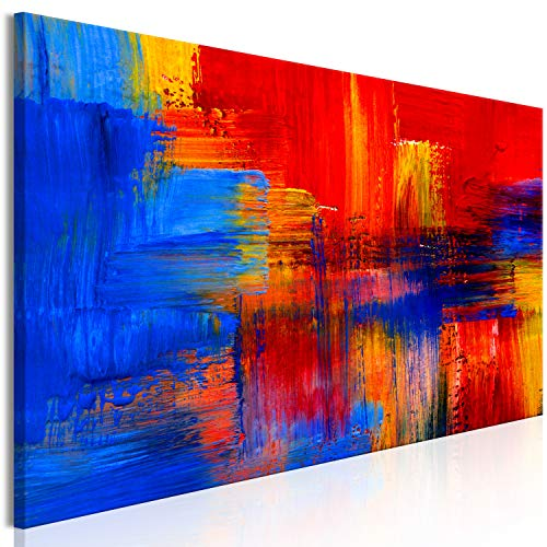 murando HandArt Bilder auf Leinwand Abstrakt 150x50 cm 1 TLG Leinwandbild Wandbilder Wohnzimmer Wanddekoration Moderne Kunst - blau rot gelb wie gemalt f-B-0053-b-a