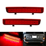 iJDMTOY Red Lens 24-SMD LED Bumper Reflector Lights Compatible With 03-12 Land Rover Range Rover, 08-15 Freelander 2 LR2, Function as Tail, Brake & Rear Fog Lamps