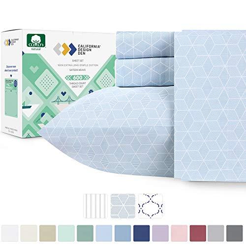 California Design Den 600 Thread Count Best Bed Sheets 100% Cotton Sheets Set - Extra Long-Staple Cotton Sheet for Bed 4 Piece Set with Deep Pocket (Urban HEX Blue, Queen Sheet Set - 600 TC)