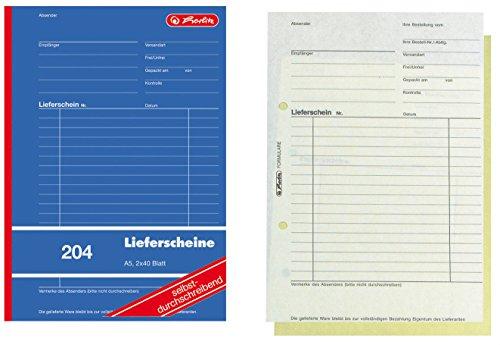 10x Herlitz 204 Lieferscheinblock A5, 2x40 Blatt SD, Lieferschein selbstdurchschreibend