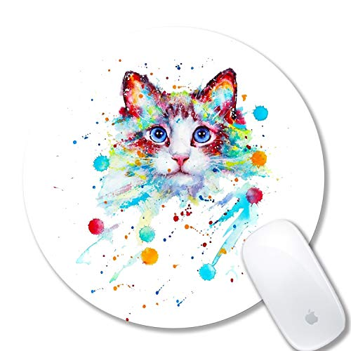 Watercolor Cat Mouse pad Computer Mouse pad Personalized Design Mouse Pads for Computers Round Mouse pad