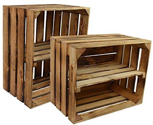 CHICCIE 2 Set Neue Vintage Holzkiste mit Ablage vom Werk (Quer und Längst) - Gebrannt Geflammt - Obstkiste - Weinkiste - Natur Used Look