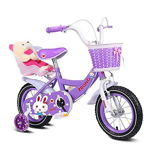 Sharesun meisjesfiets, prinses, rem voor en achter, 16 inch, op de mand van het stuur en de poppenhouder, fiets voor kinderen van 4 tot 8 jaar