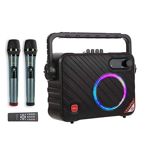 Karaoke Machine, Bluetooth Karaoke System with 2 Wireless Mics, LED Lights, Ideal for Home, Party,...