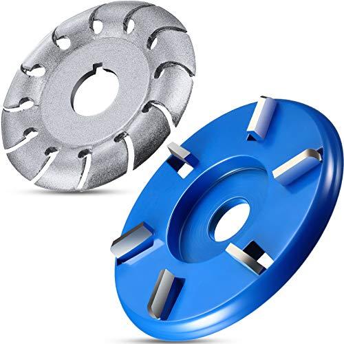 2 Piezas Discos Turbo de Talla Madera 6 Dientes y 12 Dientes, Diámetro Interno 5/8 Pulgadas Disco Formador de Amoladora Angular para Madera Pulido Modelado