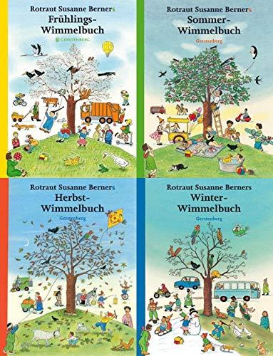 Vier Jahreszeiten-Wimmelbücher im Set + 1 exklusives Postkartenset