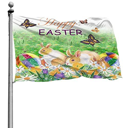 Vacaciones de Pascua Conejo de Pascua Huevos de conejito Bandera de flor de primavera 4x6 Ft Bandera decorativa al aire libre Bandera estándar colgante exterior