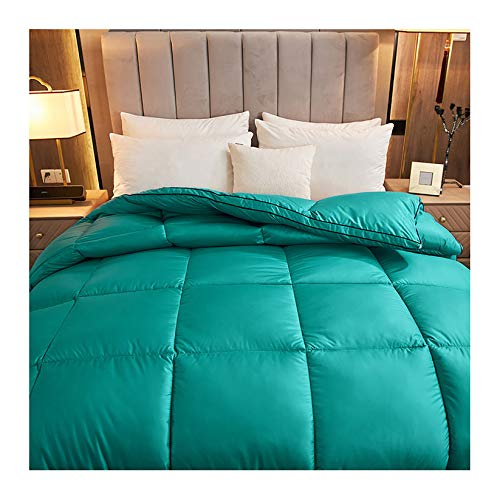 King Size Duvet - 15 Tog Luxurious Goose Feather & Down Quilt, Filling: 95% Velvet, 100% Cotton Shell, Feather-Proof Fabric Anti-Allergen Machine Washable,Green,150 * 200CM 13.5T 3KG