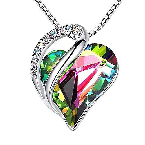 xu Collar con Colgante de Cristal en Forma de corazón Simple, Cadena de clavícula con Piedra Natal de diciembre, joyería de Regalo para Mujer 彩虹水晶