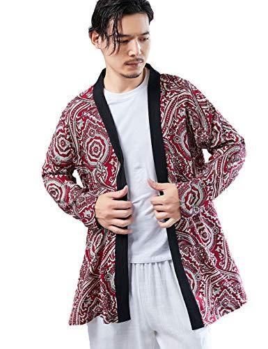 YYear Men Windbreaker Linen Stylish Open Front Long Cardigan with Pockets