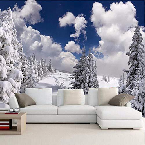 CHAFQZQ Fototapeten Wandtattoos Schnee Winterlandschaft Moderne Wandbild 350 * 250cm