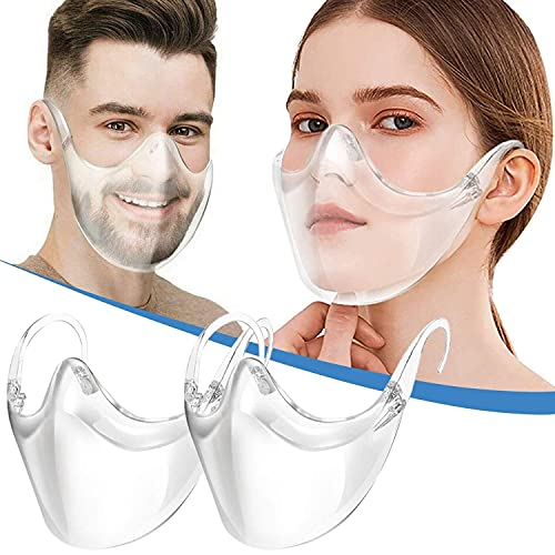 Transparent_Face_Mask, Clear Combine Plastic Reusable Clear Face Bandanas, Upgraded Breathable, Visible Expression, for Adults (2 pcs)