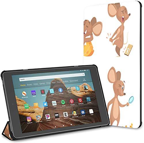 Estuche para Tableta Fire HD 10 de Dibujos Animados de ratón Comiendo Queso de Rata (9a / 7a generación, versión 2019/2017) Estuche para Tableta Fire HD 10 Estuche Fire HD 10 para niños Auto Wake/s