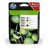 HP 903XL Multipack (Schwarz, Rot, Gelb, Blau) Original Druckerpatronen mit hoher Reichweite für HP Officejet 6950; HP Officejet Pro 6960, 6970