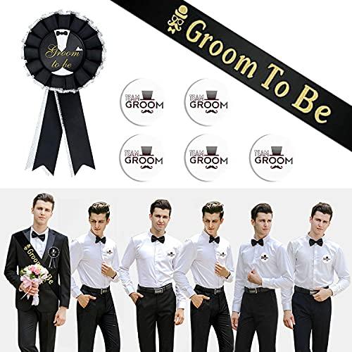 7 Piece Bachelor Party Set, Groomsmen Ribbon, Groomsmen Badge, 5 Best Man...