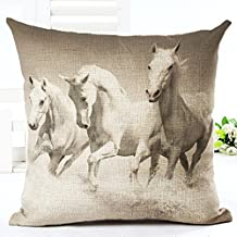 LivebyCare Oil Painting Horse Printing Cushion Cover Linen Cotton Cover Throw Pillow Case Sham Pattern Zipper Pillowslip Pillowcase for Home Sofa Couch Bedding Chair Seat Back