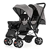 Pram DZWSD Strollers,Contours Curve Tandem Double Stroller for Infants, Toddlers or Twins