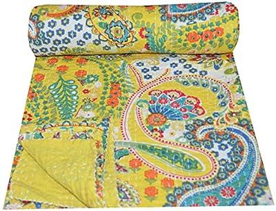 Indian Kantha Quilt Bedspread Ethnic Floral Cotton Reversible Bedding Gudri Twin
