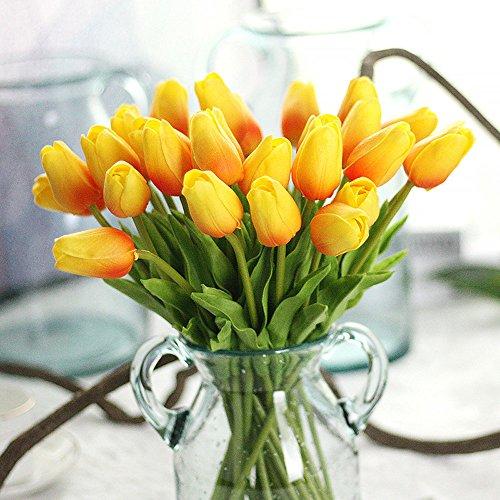 MDD_Tech 10pcs hermoso pu flores artificiales tulipanes con hojas para boda ramo decoración