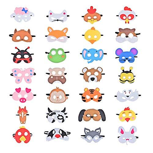 Queta 28 Stücke Party Masken für Kinder, Filz Masken für Tier Cosplay Party Augenmaske mit Elastischem Seil für Kinder Party Maskerade Dekoration